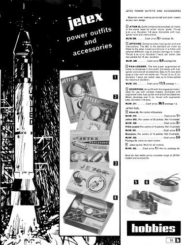 1967: Jetex rocket engines and accessories