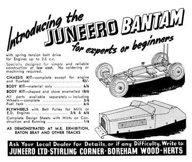 "Advert for Juneero ""Bantam"" car kits, 1949"