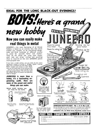 "A full-page Juneero advert from November 1939: ""Ideal for the long blackout evenings"""