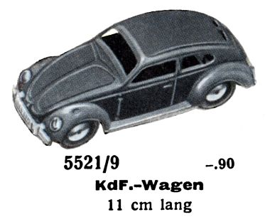 1939: KdF-Wagen, the pre-war version of what would later become the Volkswagen Beetle, 5521/9