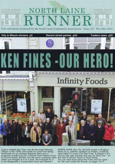 Ken Fines tribute, Front cover of the North Laine Runner, North Laine Community Association (NLCA)
