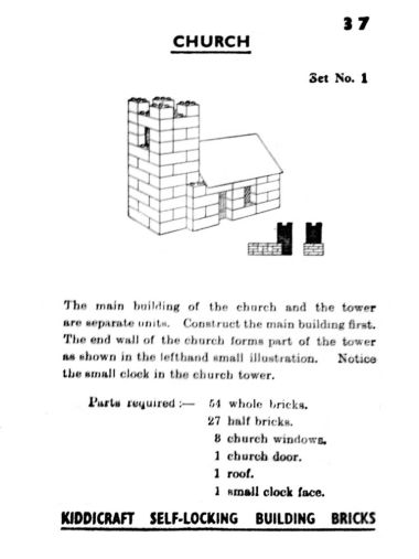 """Construction"" card 37 of 48, showing how to build a model church (Kiddicraft)"