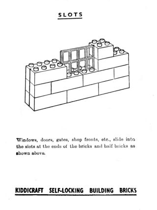 Window-frame slotting method, Kiddicraft Self-Locking Building Bricks, manual