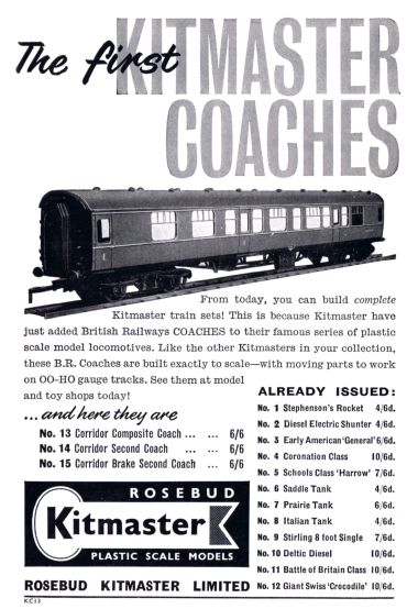 1960 April: First Kitmaster Coaches introduced, Nos.13-15