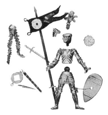 1967: Disassembled Swoppet Knight, showing parts