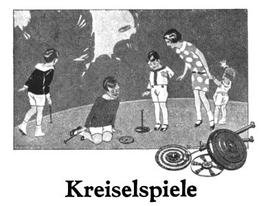 1932 graphic: Kreiselspiele. This was the image regularly used (in colour) as box artwork on Märklin's range of tops and spinners