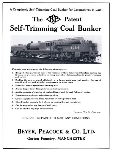 1931 advert: LMS 4986: The Beyer Peacock Patent Self-Trimming Coal Bunker