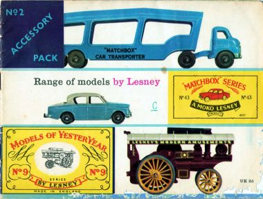 1959: Lesney catalogue cover: 72 Matchbox models listed, plus accessories and Models of Yesteryear