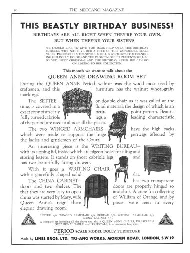 June 1935: Advert for Period dollhouse furniture.