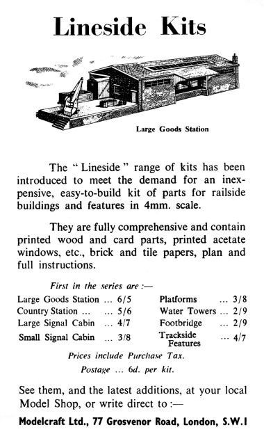 Advert for Lineside Kits, from one of Edward Beal's books