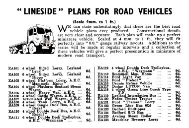 1948: Catalogue entry for Lineside vehicle plans