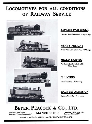 "1931: Advert, ""Locomotives for all conditions of Railway Service"", ""Express Passenger / Heavy Freight / Mixed Traffic / Shunting / Rack and Adhesion"""