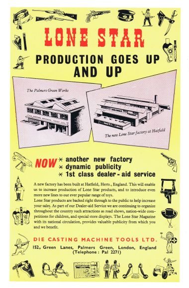 "1955: ""Lone Star production goes up and up"". Note the selection of toys around the page edge, mostly ""Cowboys and Indians""-related"