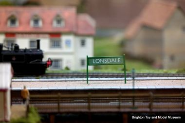 Station signage commemorating Peter Lonsdale, 00-gauge East Sussex Countryside model railway layout