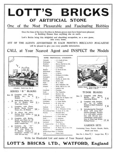 1924: Full-page advert for Lott's Bricks in Meccano Magazine. Includes Set 6
