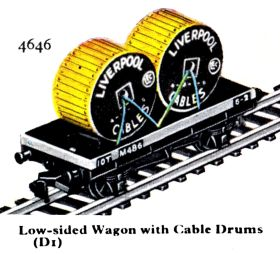 1959: Hornby-Dublo 4646, Low-sided Wagon with Two Cable Drums (Liverpool Cables, LEC)