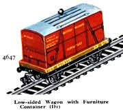 Low-sided Wagon with Furniture Container D1, Hornby Dublo 4647 (HDBoT 1959).jpg