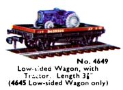 Hornby-Dublo 4649, ow-sided Wagon with Tractor