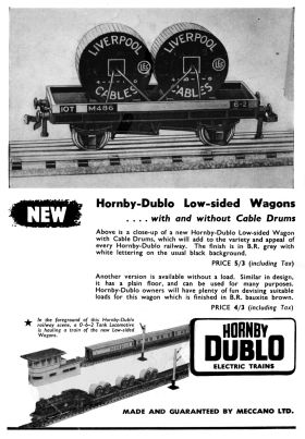 1954: Advert for the new Low-sided Wagon (with and without Cable Drums