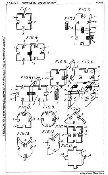Jozsef Kuna's 1943 patent application drawings, from the espacenet.com European Patent Office site. The patent number is displayed on Makimor box lids and moulded into the plastic pieces