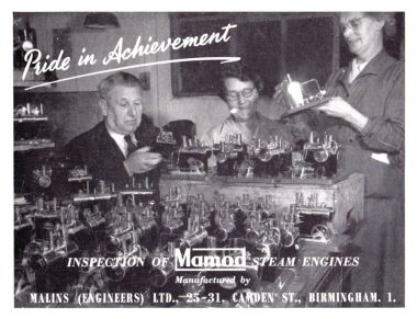 "1956: Mamod, ""Pride in Achievement: Inspecting Mamod Steam Engines"", trade advert. The figure on the left might be Geoffrey Malins"