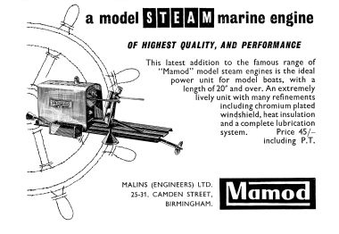 1958: Advert, Mamod marine steam engines (for model boats)