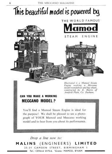 "1960: ""Can you make a working Meccano model? This beautiful model is powered by The world famous Mamod Steam Engine"""
