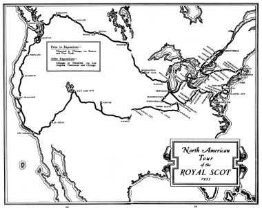 1933 map: North American Tour of the Royal Scot
