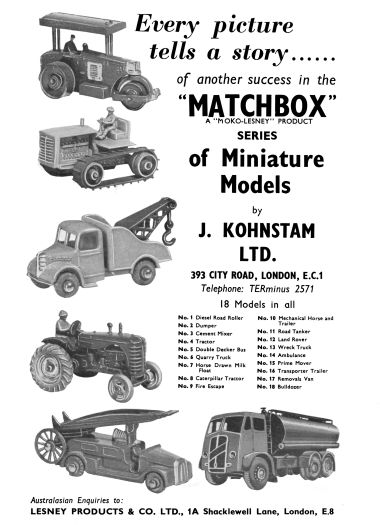 "1955: ""Matchbox Miniature Models, a Moko-Lesney Product"". 18 models listed."