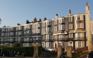 "Black ""mathematical tiles"" catching the light, Royal Crescent, Kemp Town"