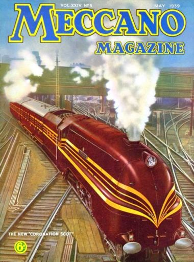 "The red ""US promotional tour"" Coronation Scot train on the cover of Meccano Magazine, in May 1939. World War Two broke out a few months later, on 1st September"