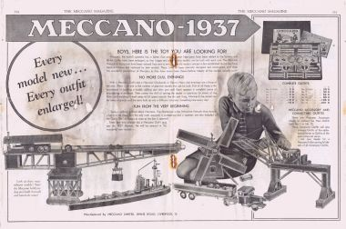 Meccano double-page advert, 1937