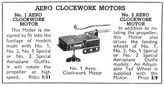 Aero clockwork Motors, 1939 catalogue
