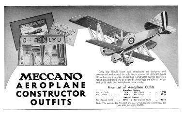 1938 advert for Meccano Aeroplane Constructor Outfits