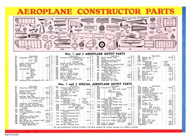 "1935 ""special parts"" list for Aeroplane Constructor"
