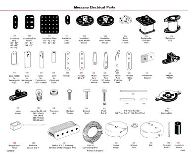 Elektrikit Meccano Electrical parts, identification chart