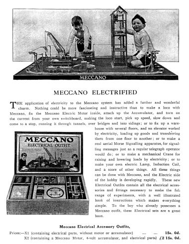 The Meccano Electrical Outfit, the predecessor of Elektrikit (catalogue entry circa ~1920