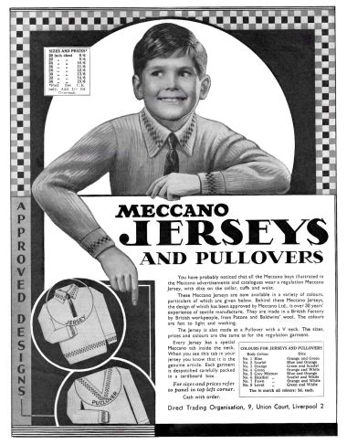 Meccano Jerseys advert from 1935