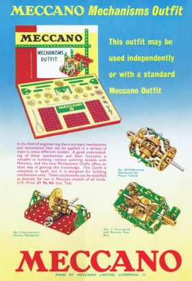 1960: Colour advert for the Meccano Mechanisms Outfit