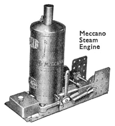 1934: Meccano Steam Engine advertising image, 1929 version with embossing