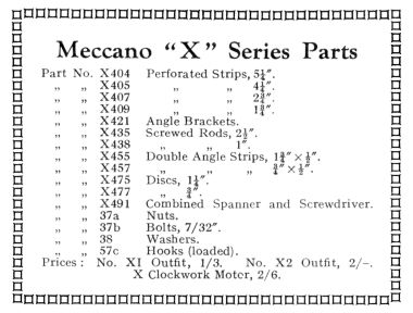 "1933: Meccano ""X"" Series Parts"
