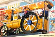 Meccano fairground traction engine, shop display model, yellow.jpg