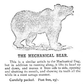 "~1880: A ""savage"" mechanical bear, Britains catalogue"