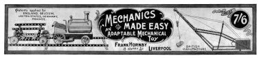 "An example of the ""Mechanics Made Easy"" box lid artwork, from a Meccano Magazine retrospective article published in 1932. Interestingly, this example lists the manufacturer as ""Frank Hornby"" rather than ""E&H"""
