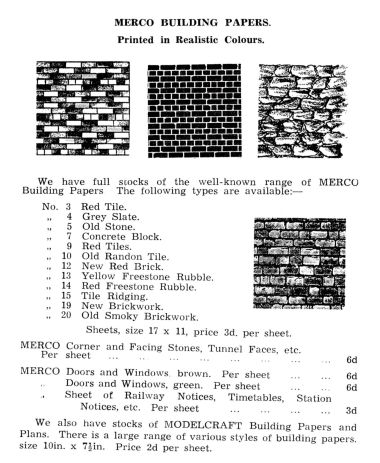 1938: Merco Building Papers, Hambling's catalogue