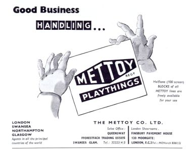 "1956 ""Mettoy Playthings"" trade advert"