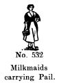 Milkmaids carrying Pail, Britains Farm 532 (BritCat 1940).jpg