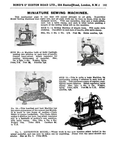 "1932: ""Miniature Sewing Machines"" page from the 1932 Bond's catalogue"