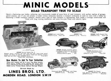 A Minic Models advert from 1939