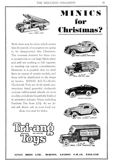 "1947: Minics for Christmas?"" Anticipating the return of Triang's metal toys to the UK retail market after World War Two"